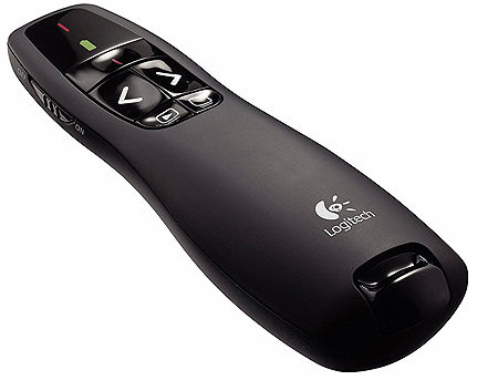 Logitech R400 Black Laser Presentation Remote 2.4 GHz wireless, Up to 15-meter range, Battery indicator, Red laser pointer, 910-001356