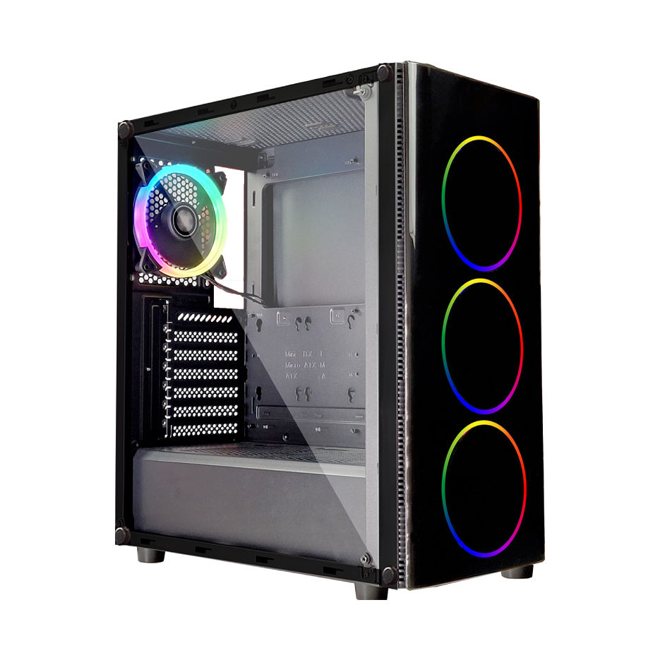 Case Middletower XILENCE XG115, ATX Black no PSU, Side & Front panel Tempered glass, 1xUSB3.0/2xUSB2.0/AudioHD x 1/Mic x 1, 3x120mm ADD-RGB fan, Custom Space for Logo (carcasa/êîðïóñ)