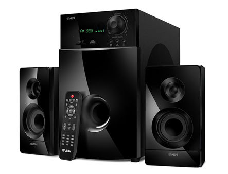 Active Speakers SVEN MS-2100 Black, mini music system: VFD display, remote, FM Tuner, USB port, SD slot ( 2.1 surround, RMS 80W, 50W subwoofer, 2x15W Satellites )