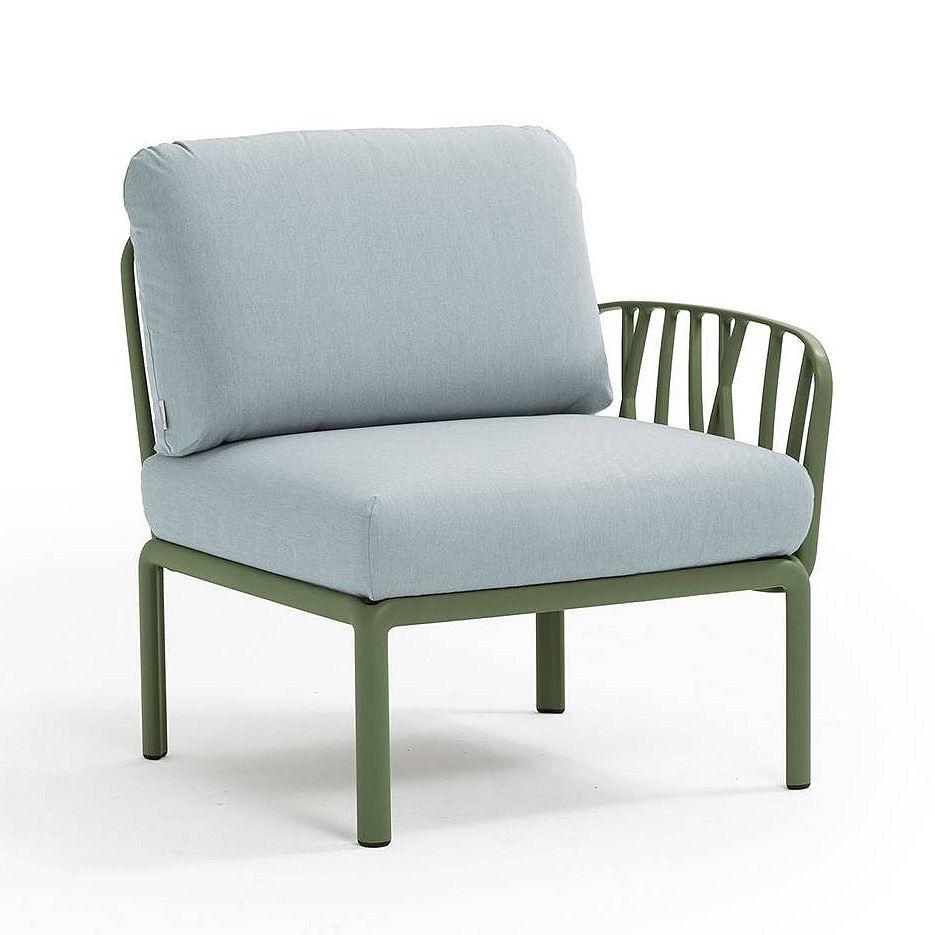 Кресло модуль правый / левый с подушками Nardi KOMODO ELEMENTO TERMINALE DX/SX AGAVE-ghiaccio Sunbrella 40372.16.138
