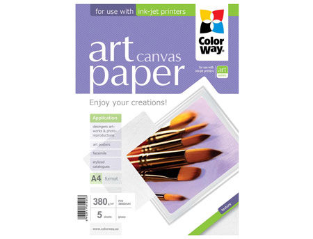 ColorWay Art Cotton Canvas Photo Paper, 380g/m2, A4, 5pack
