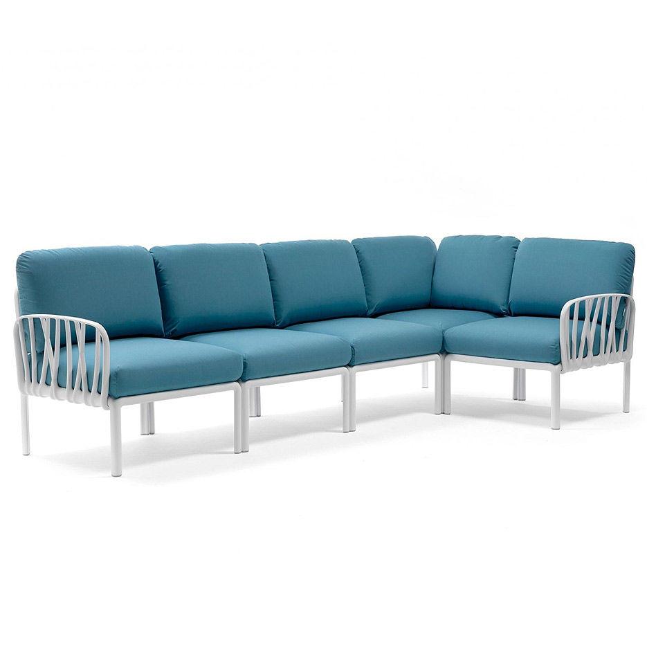 Диван с подушками Nardi KOMODO 5 BIANCO-adriatic Sunbrella 40370.00.142 (Диван с подушками для сада и терас)