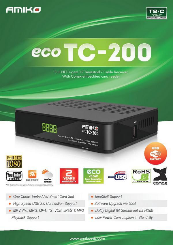 AMIKO ECO TC-200 T2/C (FULL HD DIGITAL T2 TERRESTRIAL / CABLE