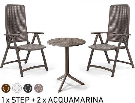Комплект садовой мебели стол Nardi STEP + 2 кресла ACQUAMARINA