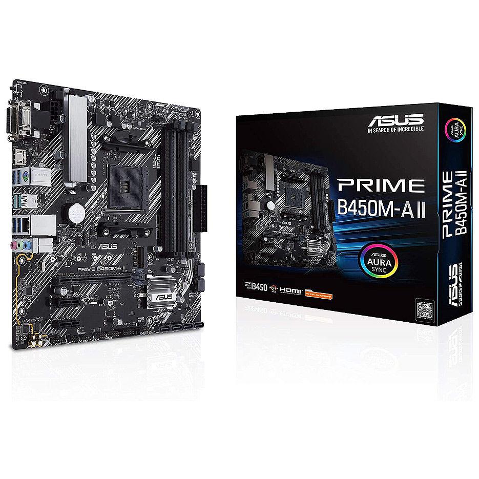 Placa de baza ASUS PRIME B450M-K II AMD B450, AM4, Dual DDR4 4400MHz, PCI-E 3.0/2.0 x16, HDMI/DVD-D/D-Sub, USB 3.1, SATA RAID 6Gb/s, M.2 x4 Socket, SB 8-Ch., GigabitLAN, LED lighting, (placa de baza/материнская плата)