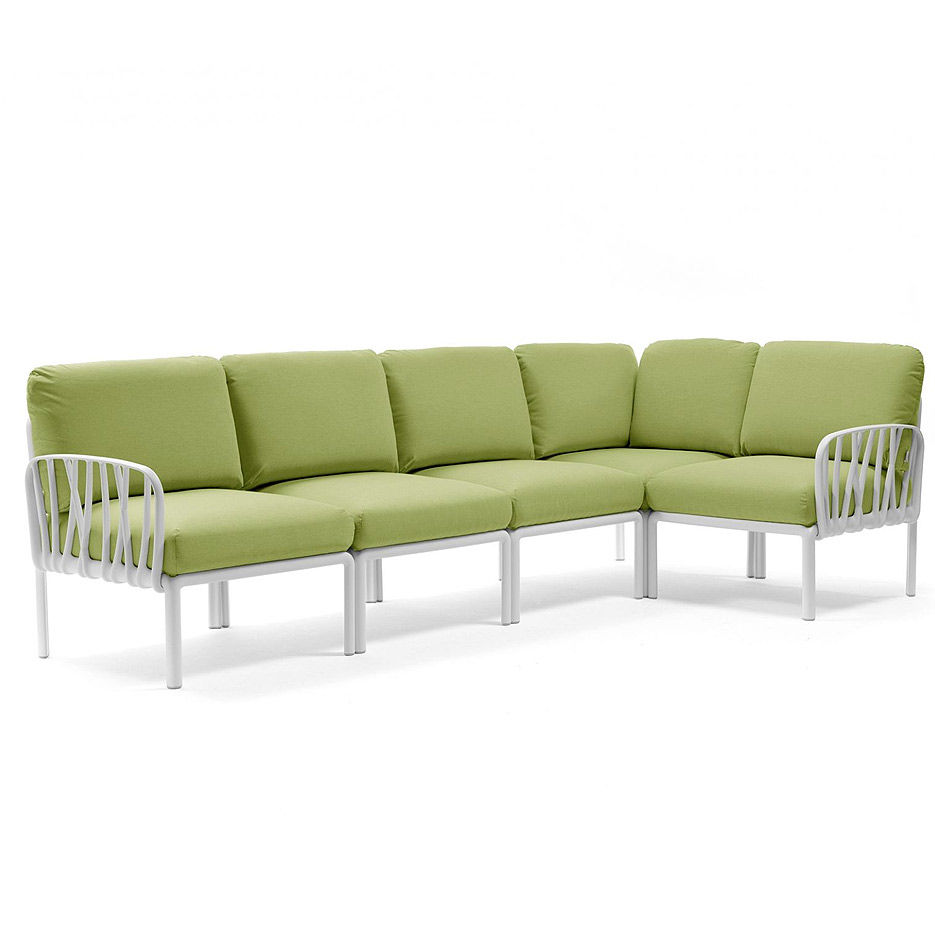 Диван с подушками Nardi KOMODO 5 BIANCO-avocado Sunbrella 40370.00.139 (Диван с подушками для сада и терас)