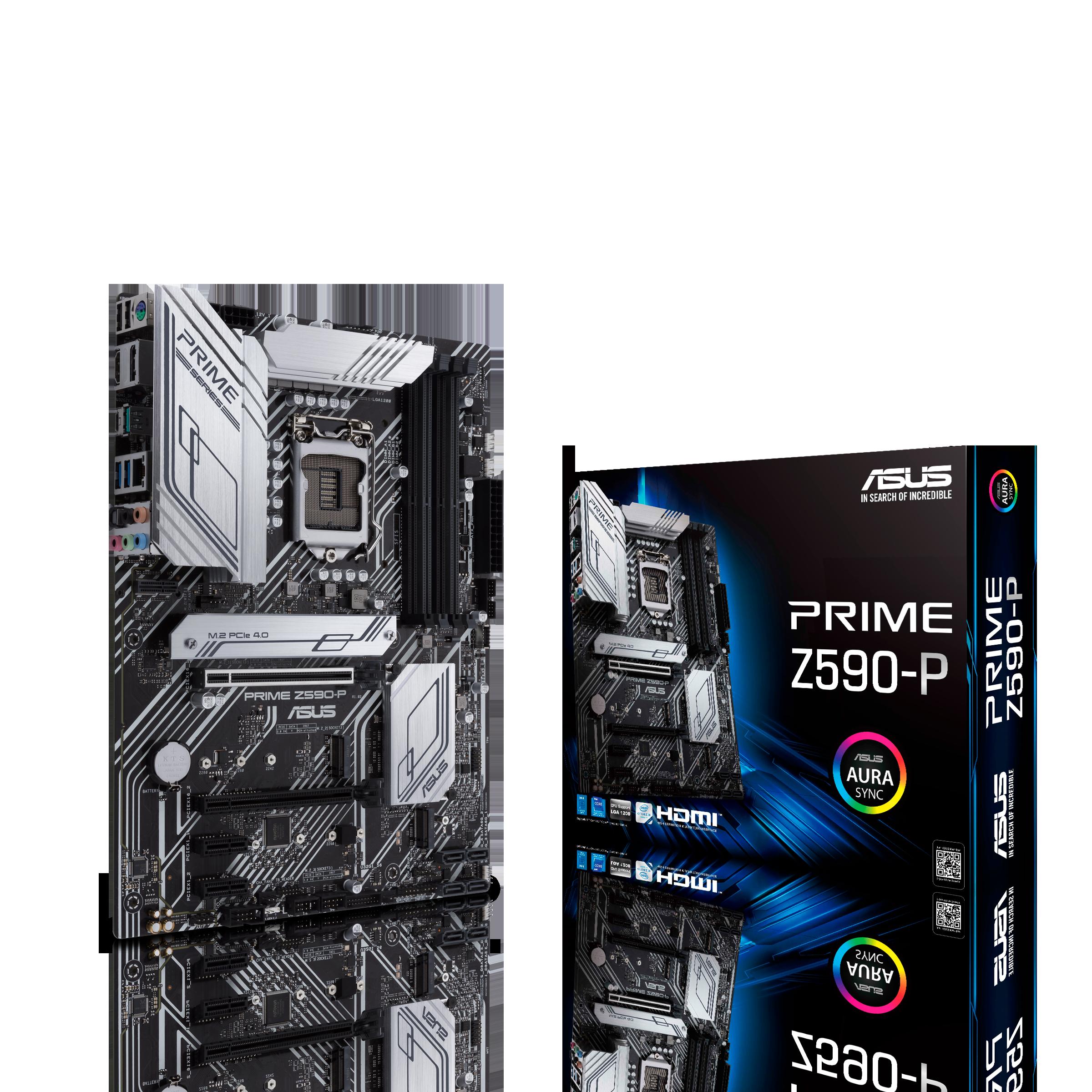 Placa de baza ASUS PRIME Z590-P Intel Z590, LGA1200, Dual DDR4 5133MHz, 1xPCI-E 4.0/3.0 x16, 1xPCI-E 3.0 x16 DP 1.4/HDMI 1.4b, USB3.2 Type-C, SATA RAID 6Gb/s, 3 x M.2 slots, 1x M.2 PCIe 4.0 x4, Intel Optane, SB 8-Ch., 2.5Gb Ethernet, AURA Sync