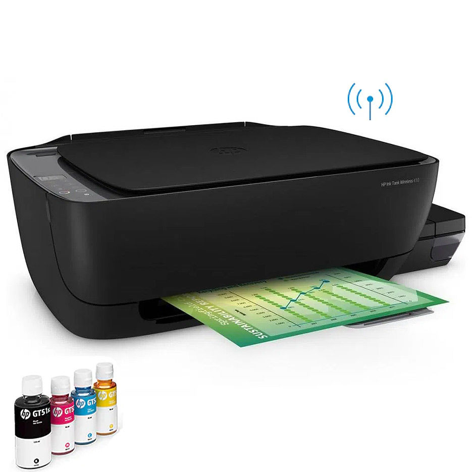 Multifunctional inkjet MFD CISS HP Ink Tank Wireless 410, Black, A4, 8ppm/5ppm black/color, Copy 6.5/2 black/color, 4800x1200 dpi, 1200x1200 dpi, 360 Mhz, Up to 1000 pages/month, Hi-Speed USB 2.0, Wi-Fi Direct (HP GT51XXL Black135ml 7000p, GT52 C/M/Y 70ml 8000p)