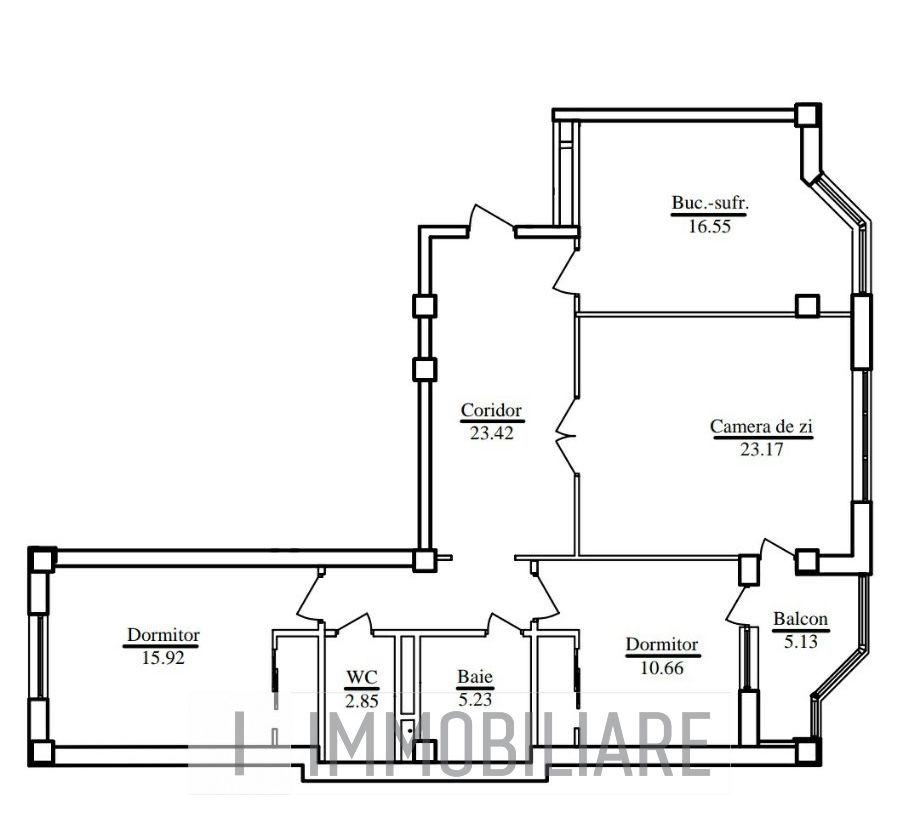 Apartament cu 3 camere, sect. Buiucani, str. Calea Ieșilor.