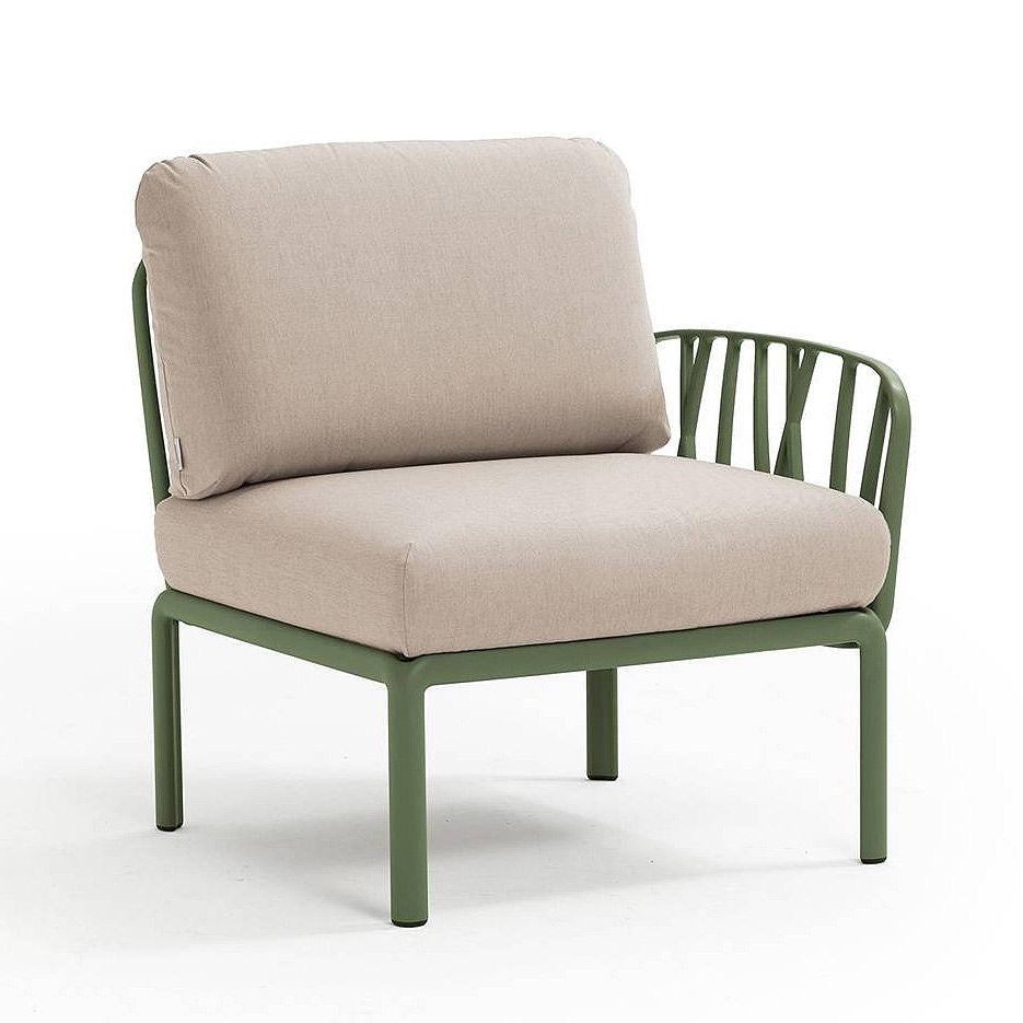 Кресло модуль правый / левый с подушками Nardi KOMODO ELEMENTO TERMINALE DX/SX AGAVE-canvas Sunbrella 40372.16.141
