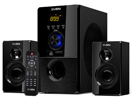 Active Speakers SVEN MS-2050 Black, mini music system: LED display, remote, Bluetooth, FM Tuner, USB port, SD slot ( 2.1 surround, RMS 55W, 30W subwoofer, 2x12.5W Satellites ), www