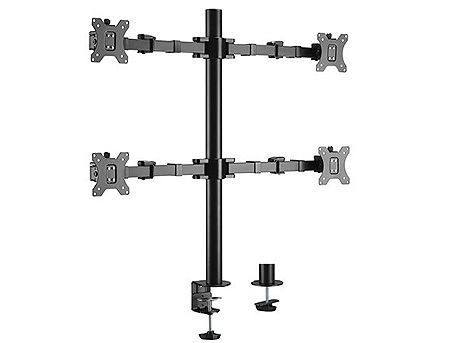 "Brateck LDT33-C048 Quad Monitors Steel Articulating Monitor Arm, for 4 monitors, Clamp-on, 17""-32"", +35"