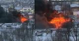 Крупный пожар на Чеканах: горит деревообрабатывающий завод