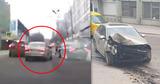 Момент ДТП с авто, врезавшимся на скорости в столб, попал на видео