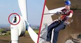 Блогер спустился с 50-метровой ветряной турбины при помощи лебедки