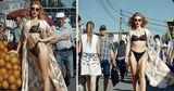 Модель в эротическом белье прогуливалась по Центральному рынку столицы