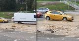Недавно отремонтированную улицу Албишоара снова затопило