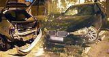 В Кишиневе BMW протаранил припаркованное авто, водитель скрылся
