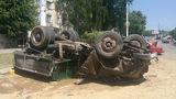 Отказали тормоза - в Дубоссарах перевернулся грузовик