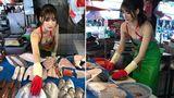В Тайване модель вышла на рынок продавать рыбу и стала звездой