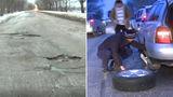 Водитель из Чимишлии остался без колеса, попав в яму на въезде в Кишинев