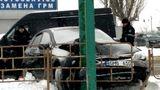 Водитель Subaru влетел в опору рекламного щита на Телецентре