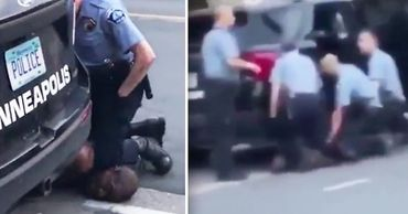 Появилось видео с прижавшими афроамериканца Флойда тремя полицейскими. Фото: Point.md.