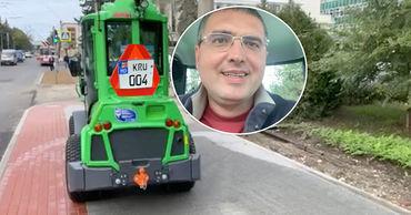 Усатый протестировал на улицах Бельц мини-трактор финского производства.