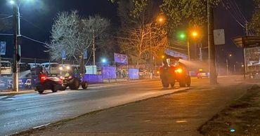 В Кишиневе дезинфекция улиц проводится по ночам.