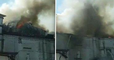 В охваченной огнем Национальной филармонии рухнула крыша