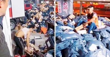 Хаос в китайском центре AliExpress после распродажи сняли на видео.