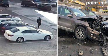 Момент столкновения двух автомобилей в Кишиневе попал на видео.