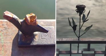 Неизвестный установил новую розу на место украденной в столичном парке. Фото: Point.md.