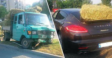 В Чимишлии грузовик с соломой столкнулся с люксовым Porsche. Коллаж Point.md.