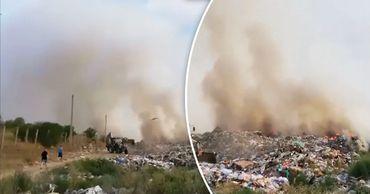 Пожар на мусорном полигоне во Флорештах тушили почти десять часов. Фото: Point.md.