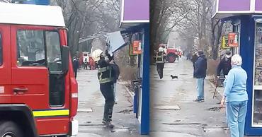 На Ботанике киоск помешал спасателям тушить пожар. Коллаж: Point.md