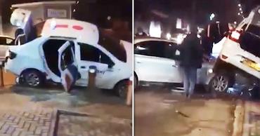 ДТП в столице: Машина такси оказалась на капоте Audi. Коллаж: Point.md