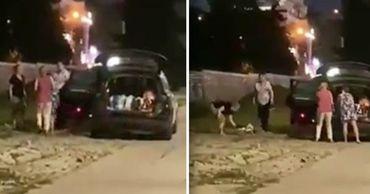 В Кишиневе засняли четырех человек, ворующих тротуарную плитку.