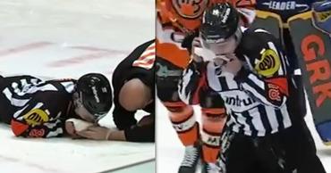 Судья сломал челюсть и лишился семи зубов во время хоккейного матча. Фото: Point.md.