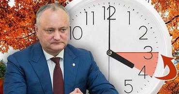 Додон проводит опрос в соцсетях относительно перехода Молдовы на зимнее время.