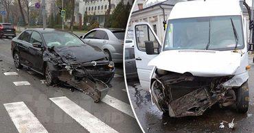 В Кишинёве два человека пострадали в результате аварии перед зданием парламента. Фото: Point.md