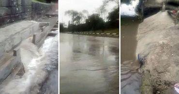 Чебан показал улицу Албишоара и русло реки Бык во время утреннего дождя. Коллаж: Point.md