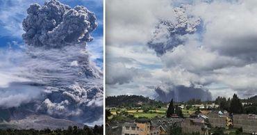 Мощное извержение вулкана Синабунг в Индонезии сняли на видео. Фото: Point.md.