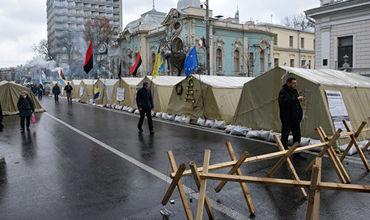 Обстановка в палаточном городке Саакашвили на данный момент спокойная.
