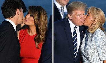 Меланья и Трюдо два раза поцеловались после поцелуя Трампа и жены Макрона.