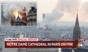 В соборе Парижской богоматери произошел пожар.