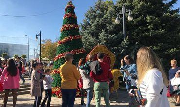 На день города на ПВНС гостей встречали Дед Мороз и новогодняя елка.