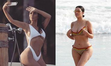 В Сети впервые появились пляжные фото Ким Кардашьян без фотошопа