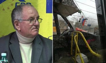 Водитель автобуса, подаренного Румынией, повесил на стекло флаг РФ