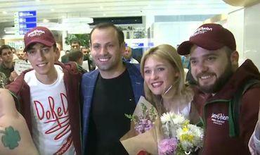 """""""DoReDoS"""", которая завоевала для нашей страны почетное 10 место на Евровидении, вернулись домой."""